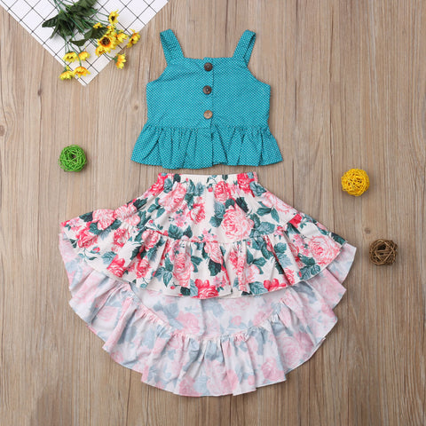 Floral Hi Low Skirt with Matching Tank - loopylousboutique