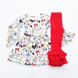 Disneyworld Inspired Ruffle Shirt & Pants - loopylousboutique