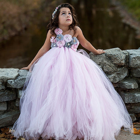 Pink and Grey Flower Girl Tutu Dress - loopylousboutique