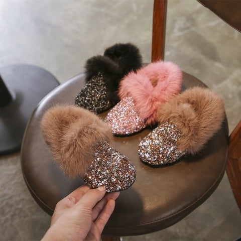 Glitter & Faux Fur Girls Slip On Shoes - loopylousboutique