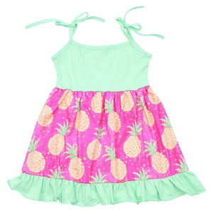 Pineapple Spaghetti Strap Summer Dress - loopylousboutique