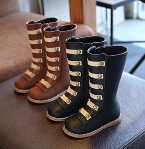 Black or Brown Military Officer Boots - loopylousboutique