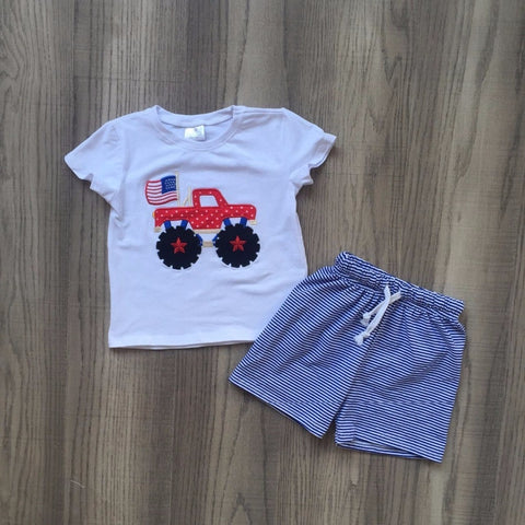Monster Truck American Flag Shorts Set - loopylousboutique