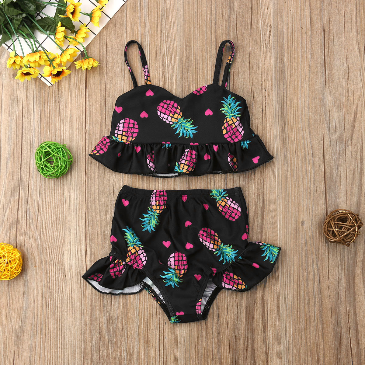 Pineapple & Hearts Ruffle Swimsuit - loopylousboutique
