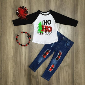 Merry Christmas Ho Ho Ho Plaid Outfit - loopylousboutique