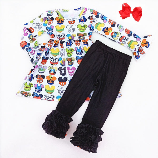 Mickey Head Character Inspired Ruffle Outfit - loopylousboutique