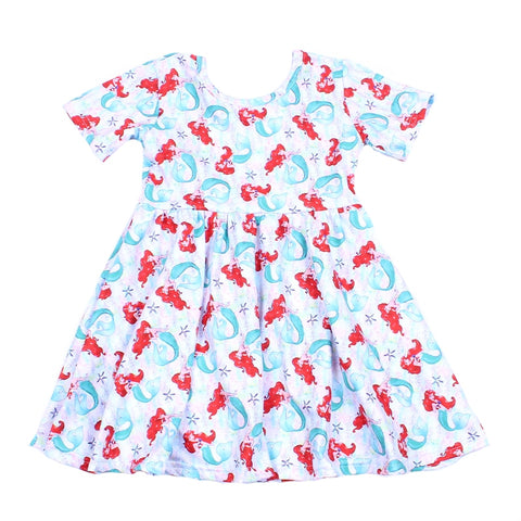 Little Mermaid Short Sleeve Twirl Dress - loopylousboutique