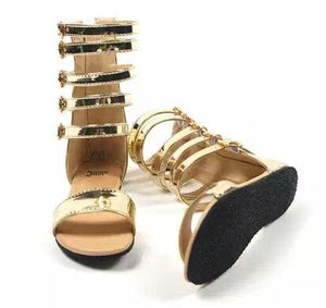 Gold or Black Leather Gladiator Sandals - loopylousboutique
