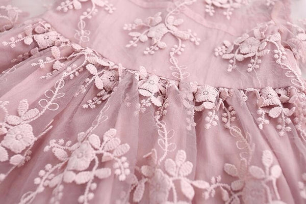 Dusty Pink Or White Tulle Girls Lace Dress - loopylousboutique