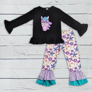 Purple Horse Embroidered Boutique Outfit - loopylousboutique