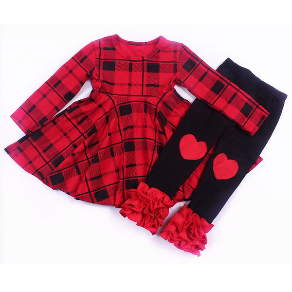Red Buffalo Plaid Ruffle Leggings Outfit - loopylousboutique