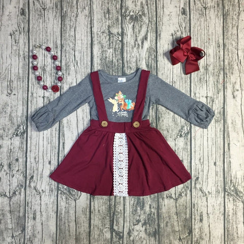 Forest Animal Grey & Burgundy Skirt Set - loopylousboutique