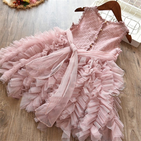 Pink or White Ruffled Tulle Dress - loopylousboutique