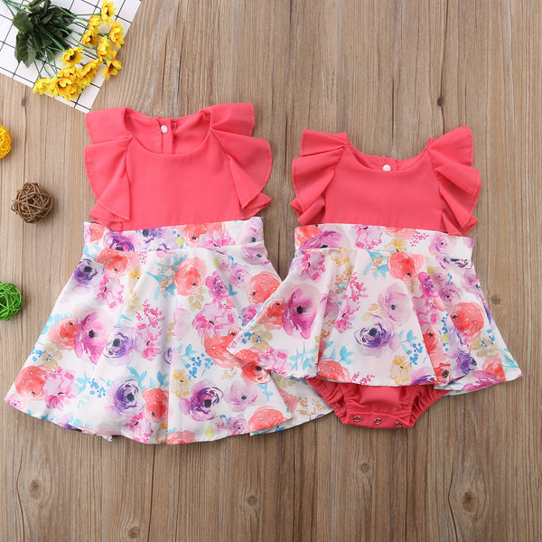 Matching Coral Flower Sister Outfits - loopylousboutique