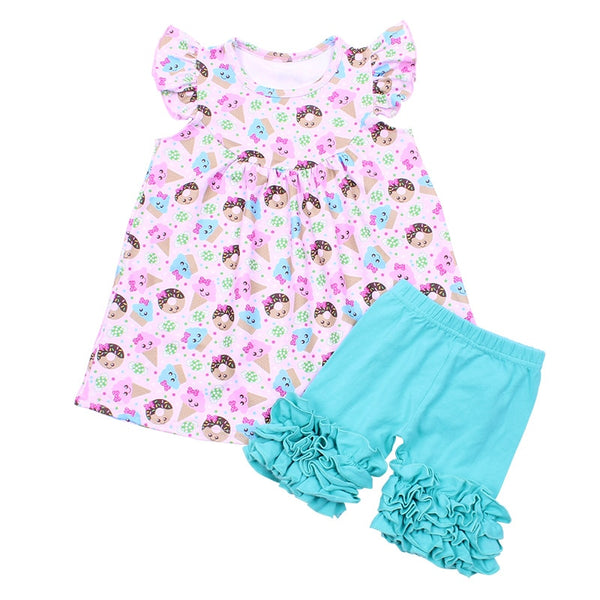 Donut and Ice Cream Cone Shorts Set - loopylousboutique