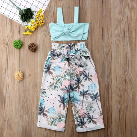 Blue Bow Top with Palm Tree Pants - loopylousboutique