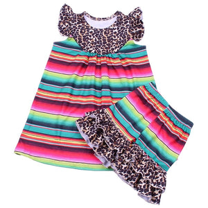 Rainbow Stripe and Cheetah Short Set - loopylousboutique