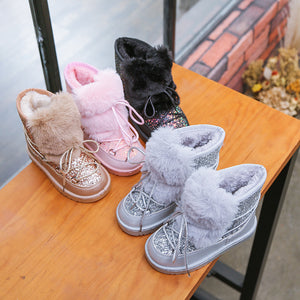 Glitter Faux Fur Lace Up Snow Boots - loopylousboutique