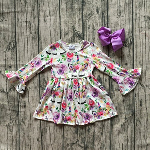 Floral Unicorn Face Milksilk Dress - loopylousboutique
