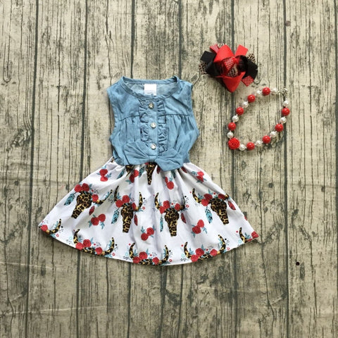 Boho Bull Head & Rose Jean Top Dress - loopylousboutique