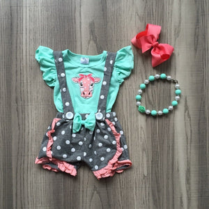 Cow Polka Dot Suspender Shorts Outfit - loopylousboutique