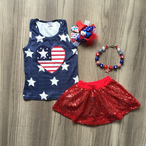 Stars & Stripes Heart Sequin Skirt Outfit - loopylousboutique