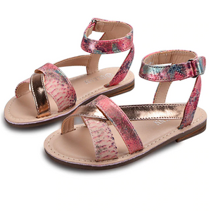 Snakeskin Rose Gold Strappy Sandals - loopylousboutique