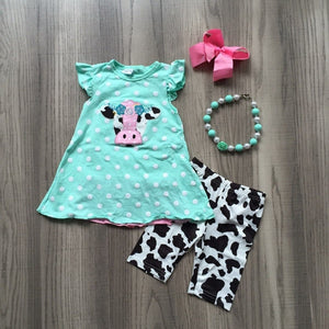 Cow Applique Polka Dot Top Capri Set - loopylousboutique