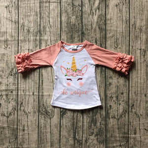 Be Unique Unicorn Face Ruffle Raglan - loopylousboutique