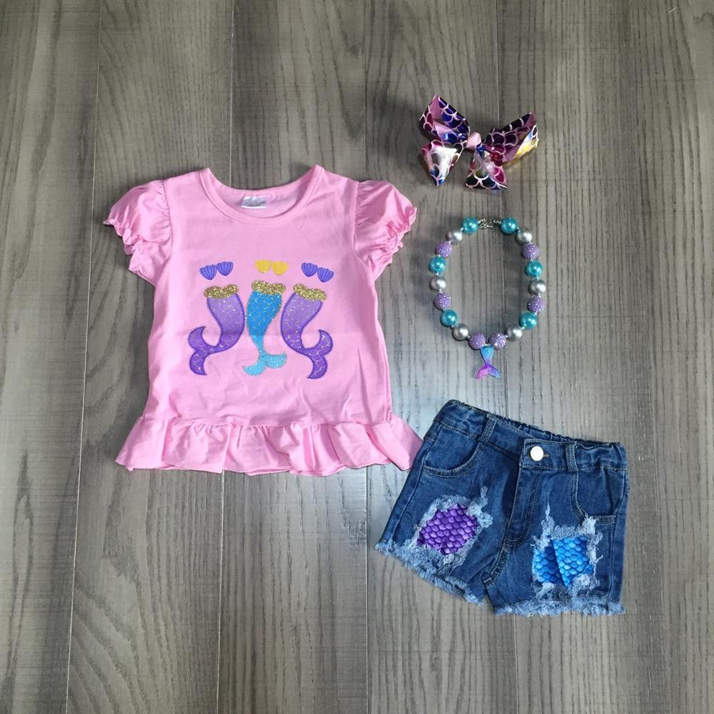 Mermaid Tee Cut Out Jean Shorts Set - loopylousboutique