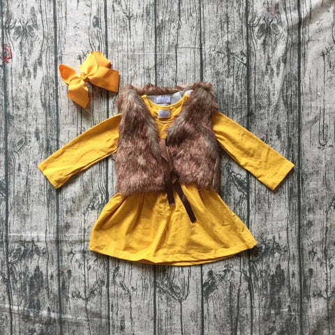 Mustard Dress With Faux Fur Vest - loopylousboutique
