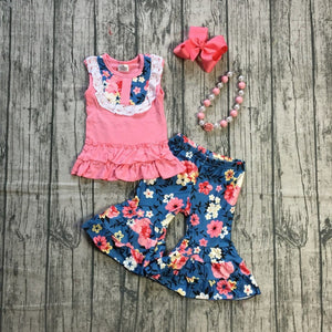 Floral Bell Bottom Ruffle Outfit - loopylousboutique