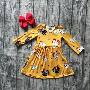 Mustard Yellow Chicken Print Dress - loopylousboutique