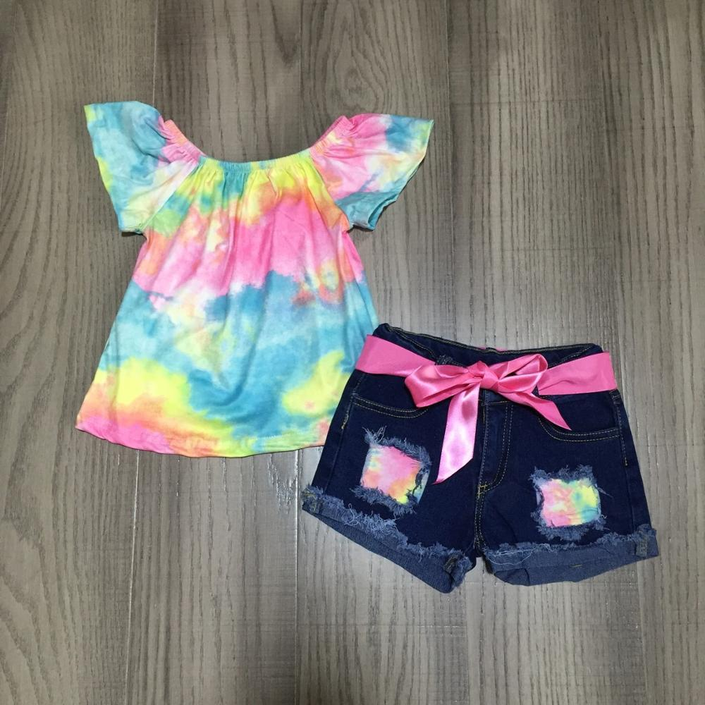 Tie Dye Ruffle Sleeve Jean Shorts Set - loopylousboutique
