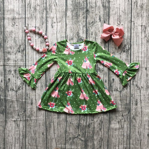 Green Teepee Floral Long Sleeve Dress - loopylousboutique