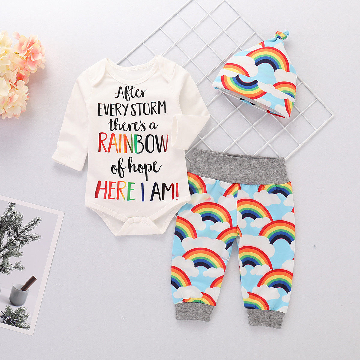 After Every Storm There's A Rainbow Of Hope Infant Set - loopylousboutique