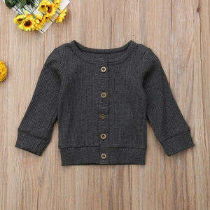 Gray Knitted Button-Up Sweater - loopylousboutique