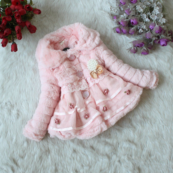 Faux Fur Pink, White or Cream Girls Jacket - loopylousboutique