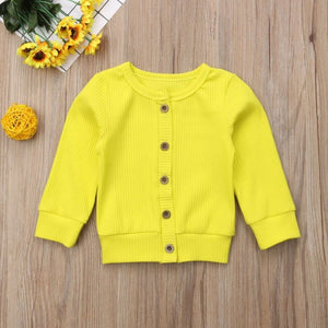 Yellow Knitted Button-Up Sweater - loopylousboutique