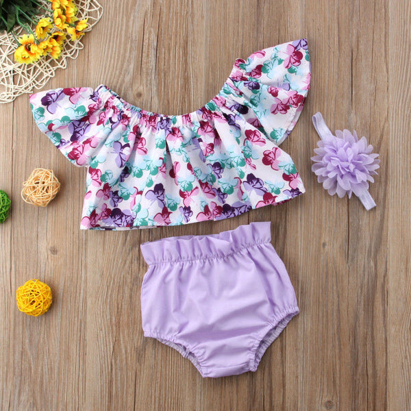 Purple Floral Print Top with Matching Bottoms and Bow - loopylousboutique