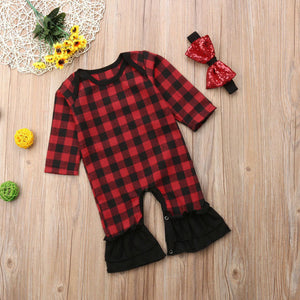 Buffalo Plaid Infant Romper with Headband - loopylousboutique