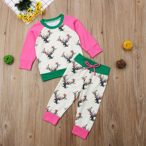 Boho Deer Print Girls Pants & Shirt Outfit - loopylousboutique