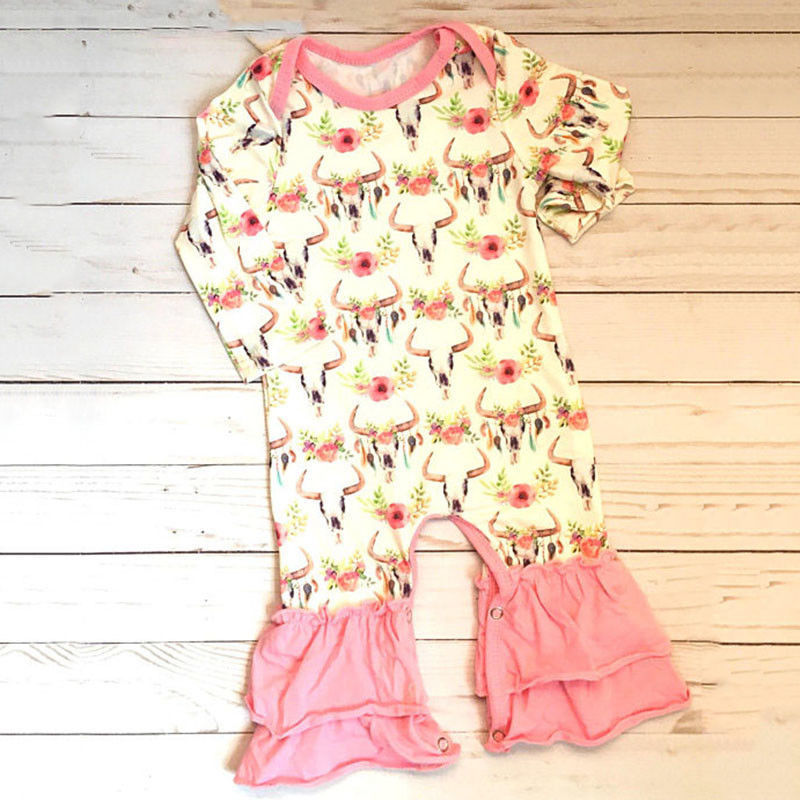 Bull Head Pink Long Sleeve Romper - loopylousboutique