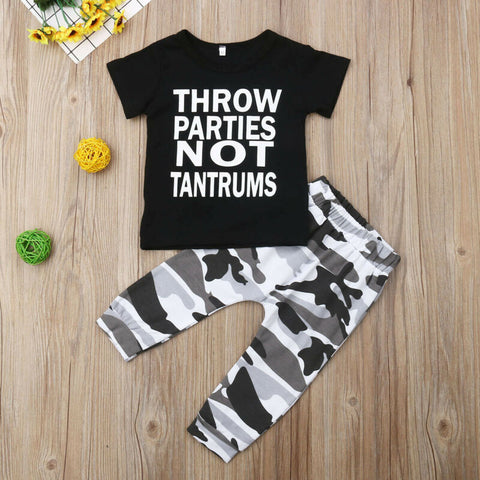 Throw Parties Not Tantrums Boys Outfit - loopylousboutique