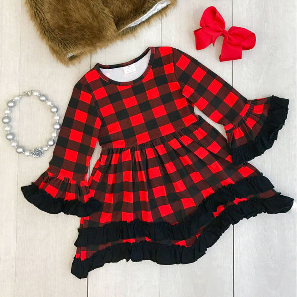 Red Plaid Hi Low Ruffle Twirl Dress - loopylousboutique