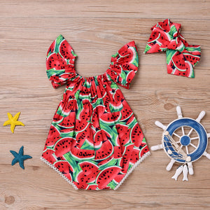 Watermelon Print Romper with Matching Headband - loopylousboutique