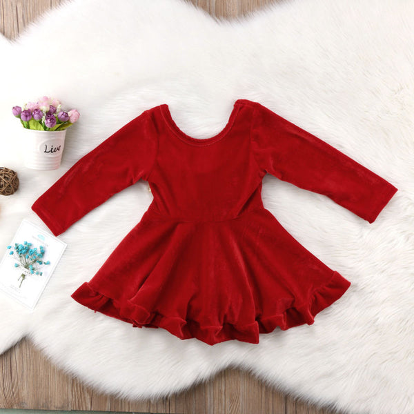 Red Velvet Gold Bow Holiday Dress - loopylousboutique