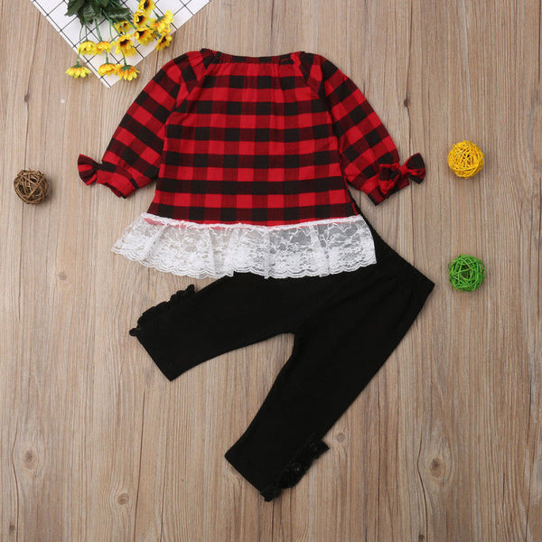 Plaid Lace Top with Matching Pants - loopylousboutique
