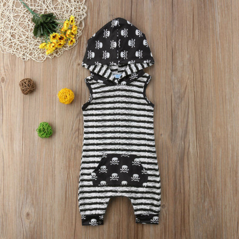 Skulls & Stripes Sleeveless Hoodie Romper - loopylousboutique