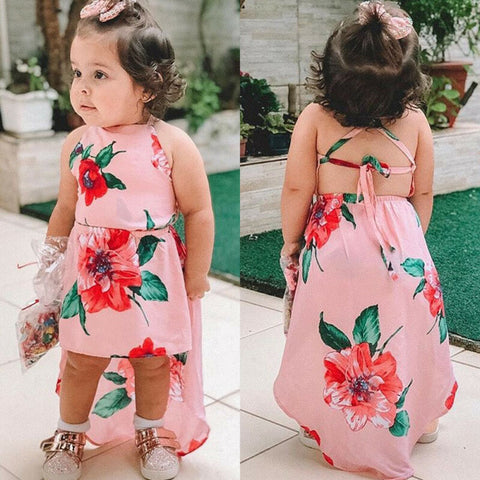 Pink Floral High Low Backless Dress - loopylousboutique